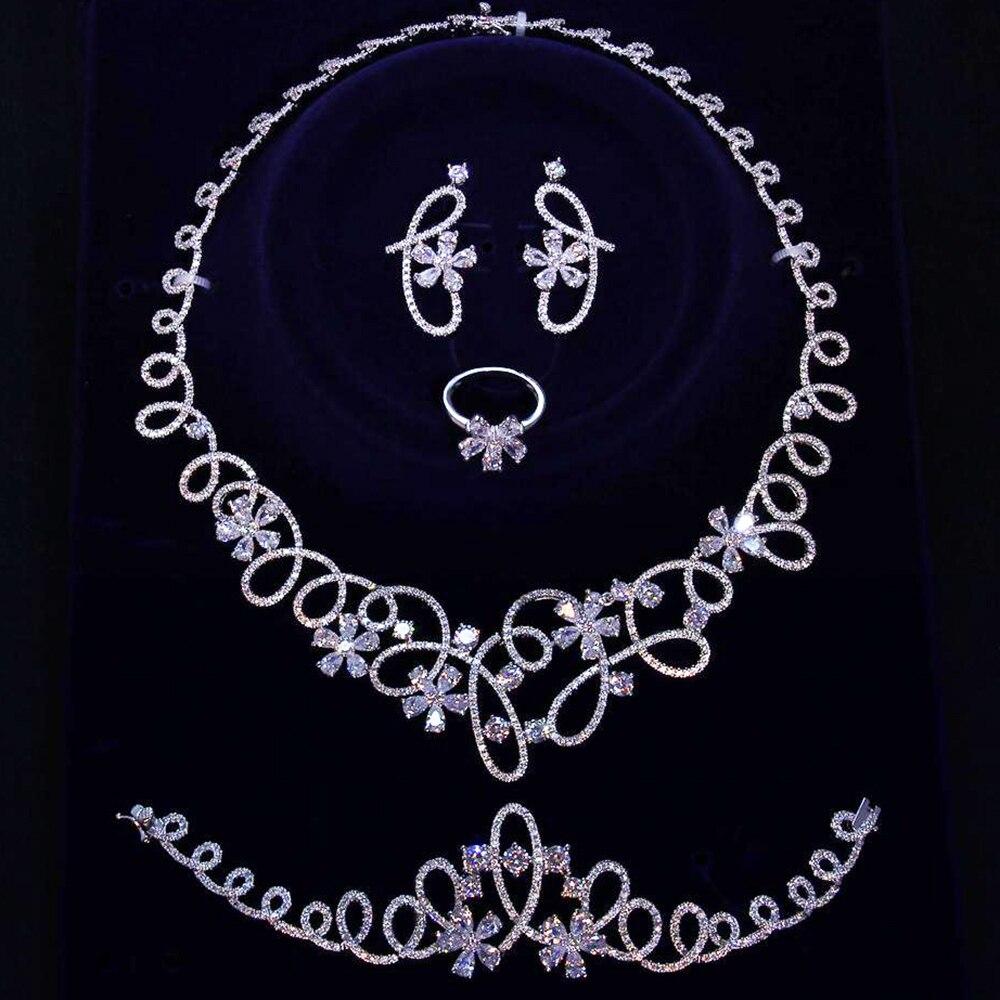 Brautiful luksusowe duży zestaw biżuterii 4 sztuki dla party naszyjnik + kolczyki + bransoletka + pierścień biały/złoty kolor duży kwiat zestawy biżuterii w Zestawy biżuterii od Biżuteria i akcesoria na  Grupa 1