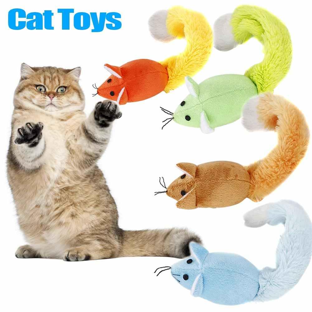Recém-longo cauda rato gato teaster brinquedos pet cat trainning jogando brinquedo interativo com catnip xsd88