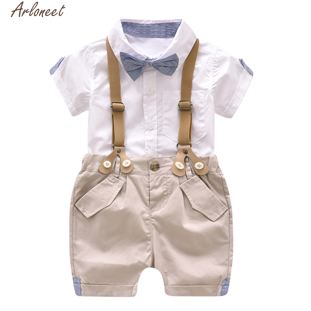 ARLONEET 2018 Kids Baby Boys Summer Cute 2018 NEW Short Sleeve Shirt+Suspenders Shorts Set Children Clothing Cute Mar16 F20d30 ...