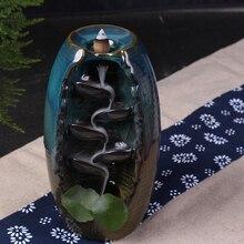 Incense Furnace Color Glaze  Backflow Burner Ceramic Aromatherapy Home Office Road Crafts Holder A