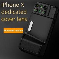 Dla iPhone X telefon z bluetooth obiektyw szerokokątny typu rybie oko makro teleobiektyw ogniskowa rozmycia portretu obiektyw z etui na telefon