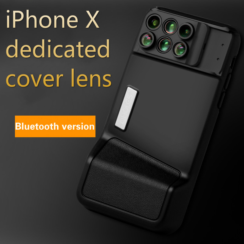 For iPhone X Bluetooth Phone Lens Wide-angle Macro Fisheye Telephoto Focal Length Portrait Blur Lens with Phone Cover image
