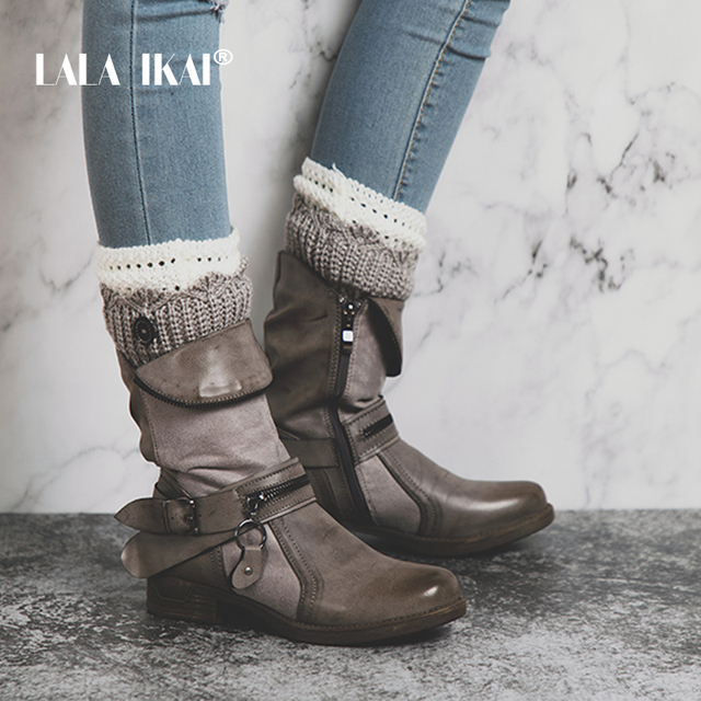 ff9b532af2a6 LALA IKAI Zipper PU Leather Women Western Boots Solid Round Toe Velvet  Ladies Winter Flat Ankle Boots Fashion 014A2191 -4