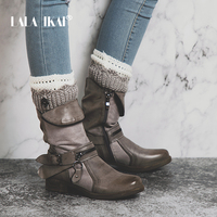 LALA IKAI Zipper PU Leather Women Western Boots Solid Round Toe Velvet Ladies Winter Flat Ankle Boots Fashion 014A2191 4