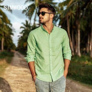 Image 3 - SIMWOOD 2020 spring summer new pure linen cotton shirts men cool Breathable classic basic shirt male high quality  190125