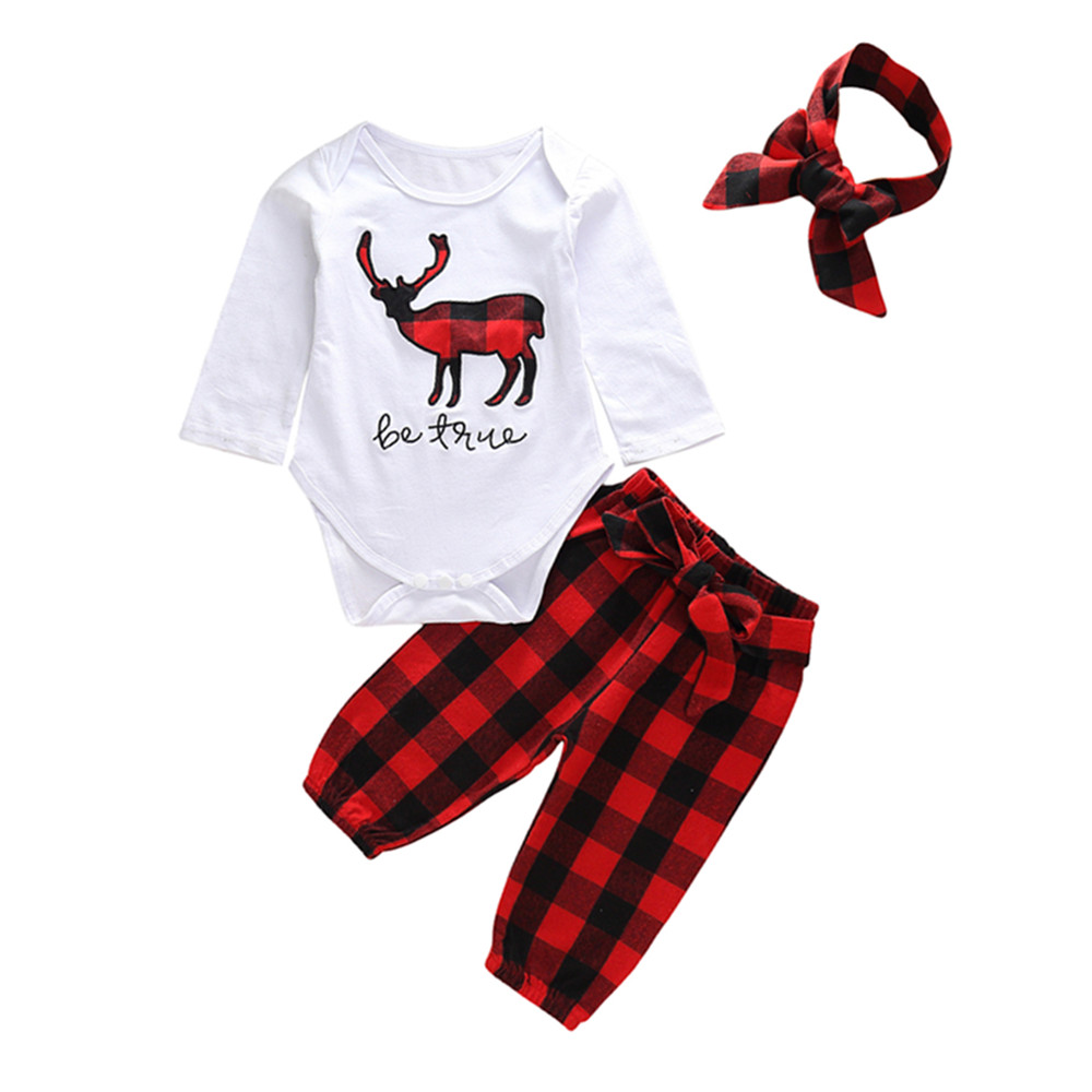 24ca8504e 3pcs Baby Girls Clothing White Soft Cotton Bodysuit Tops+Red Plaid ...