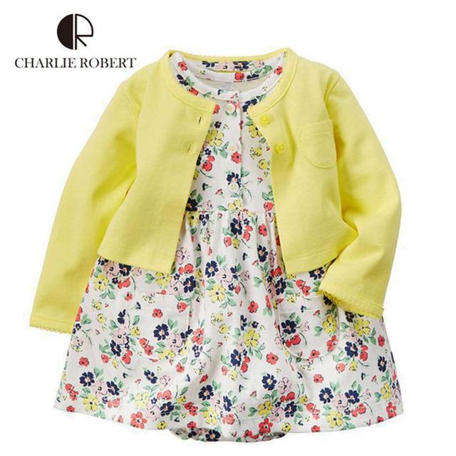 Algodón Bebé Set Girls Vestido de Flores 2 Unids y Cardigan Set Mono Infantil Ropa de Princesa De Las Muchachas vestidos de los niños HK1213
