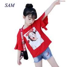 2018 صيف جديد كبير أزياء الطفل قمم الفتيات الأبجدية طباعة نصف الأكمام المحملات القطن الأطفال تي شيرت الملابس