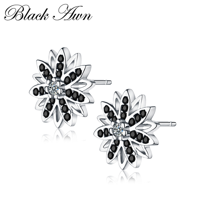 [BLACK AWN] Flower Genuine 925 Sterling Silver Jewelry Black Spinel Stone Engagement Stud Earrings for WomenT119