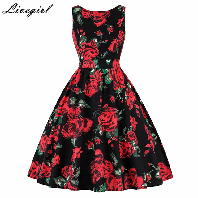 35e336f817 Women Vintage 1960s Style Floral Print Party Dress Elegant Retro Hepburn  Sleeveless Dresses Casual Rockabilly Dresses Vestidos