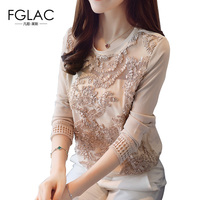 FGLAC Women Clothing New 2017 Autumn Long Sleeved Lace Tops Elegant Slim Hollow Out Chiffon Blouse