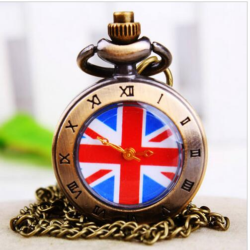 New British Flag Bronze Antiques Quartz Roman Numerals Quartz Pendant Necklace Pocket Watches