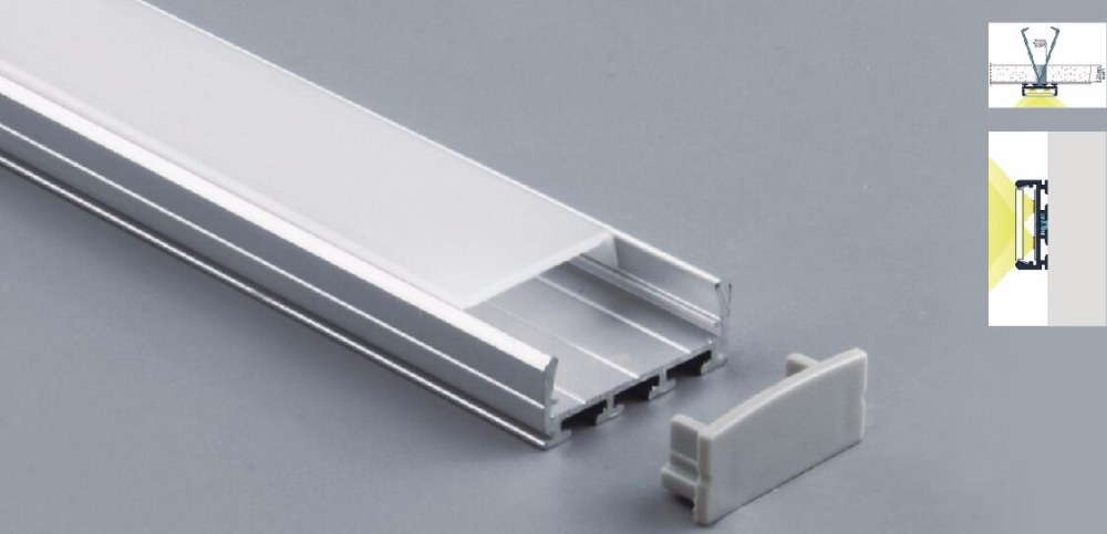 Free Shipping New Type 25pcs*2m flat channel Aluminum led profile For LED strip With PC Cover and end caps for linear luminaire