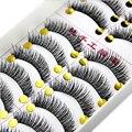 10 пар Черный Накладные ресницы макияж хлопок наращивания ресниц Инструменты длинные толстые накладные ресницы макияж Maquiagem накладные ресницы - фото