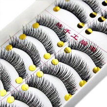 10pairs Cotton stalk black long thick false eyelashes fake eye lashes