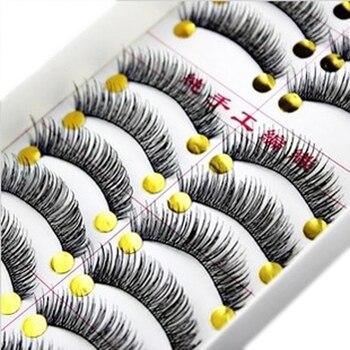 10 Pares de Algodão Stalk Extensão Dos Cílios Longos e Grossos Cílios Postiços Maquiagem Preto Falso Lashes Eye Makeup