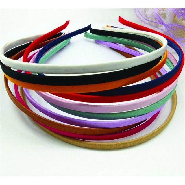 50 pièces livraison gratuite en gros blanc solide couleurs tissu couvert bandeau métal 5mm bandeau pour cheveux accessoires bricolage artisanat