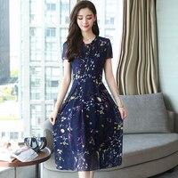 4XL Plus size Summer V Neck Chiffon Midi Dress Boho 2018 Elegant Korean Women Party Maxi sundresses Chic Casual Beach Vestidos