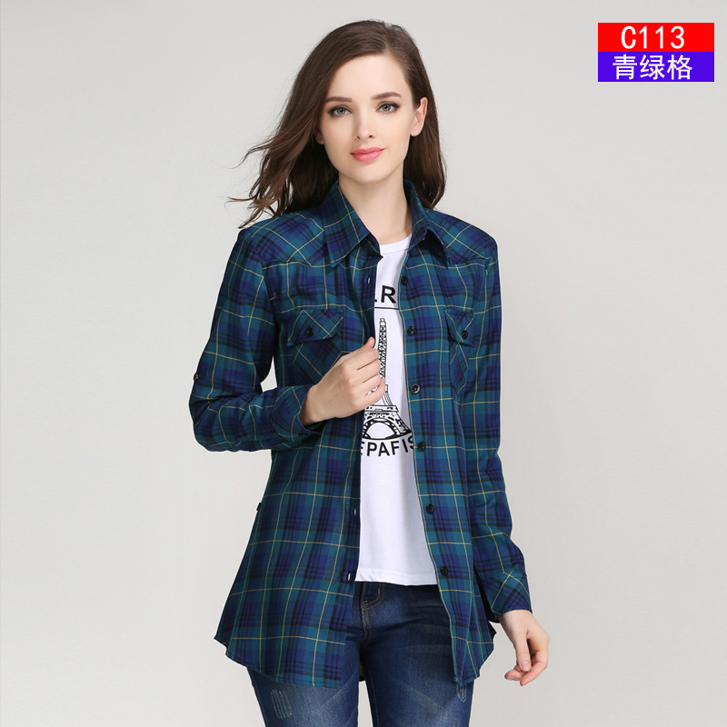 2017 Fashion Plaid Shirt Kvinna College Style Women's Blouses Långärmad Flannel Shirt Plus Storlek Cotton Blusas Office Toppar
