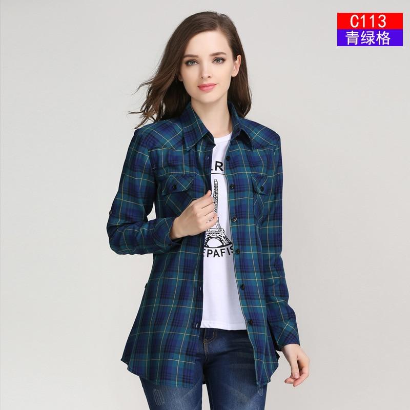 2017 Fashion Plaid Shirt Dames College-stijl Dames Blouses Lange mouw - Dameskleding