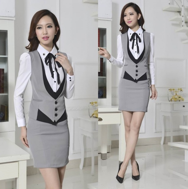 New 2015 Novelty Grey Spring Autumn Formal Work Wear Women s Suits with  Skirt Elegant Ladies Office Female Beautician Uniforms 837207c590ed