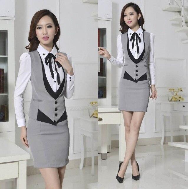 Novo 2015 novidade cinza primavera outono desgaste Formal de trabalho das mulheres ternos com saia elegante Ladies escritório feminino uniformes de estética