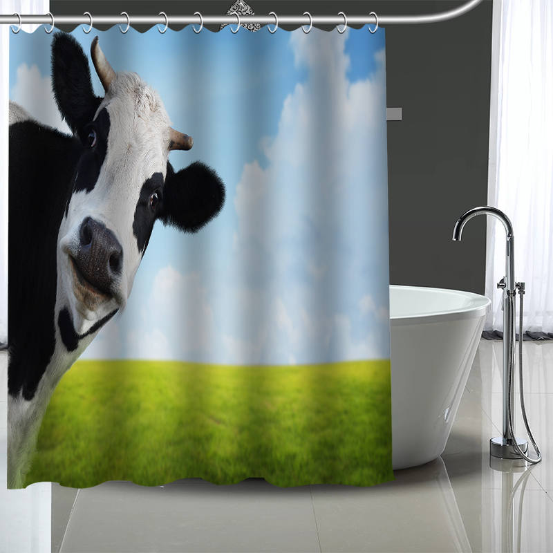 Custom Cow Shower Curtain With Plastic Hooks Modern Fabric Bath Curtains Home Decor Your Image In From Garden On