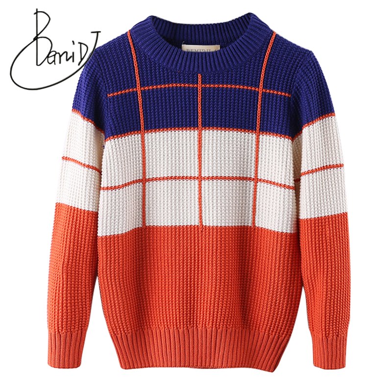 BEMIDJ Boys clothing Christmas Sweaters Plaid Pattern Kids Knitwear Tops Fall 2018 Children Casual student O-Neck Knit Pullovers