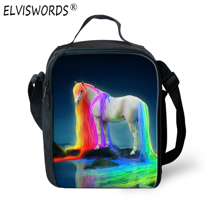 ELVISWORDS 3D Unicorn Print Lunch Box Insulated Lunch Bag Thermal Waterproof Lancheira Picnic Set Bag Neoprene