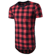 2019 Gloednieuwe Oversized Shirt T-shirt Side Rits Hip Hop Hipster Plaid Trui Tshirt Shirts Fashion Streetwear Shirts(China)