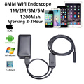 HD 720P Wireless WIFI Endoscope Inspection Snake Camera 2.0 Mega Pixels 1M/2M/3M/5M Cable 8.0mm 6 LED 2.4GHZ Borescope Android