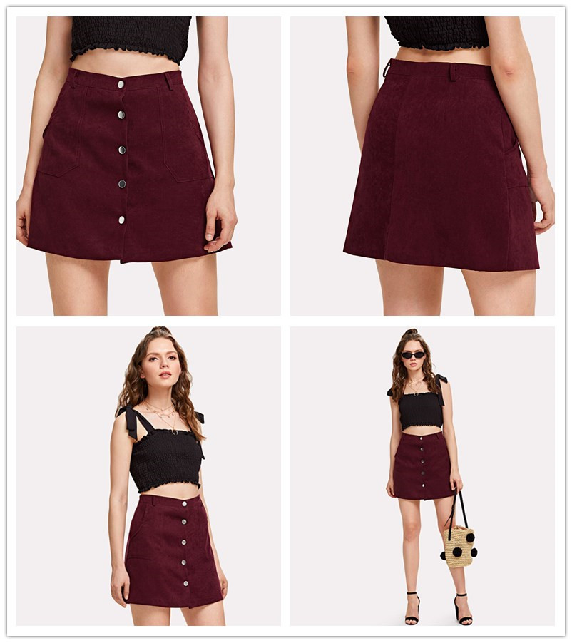 cd160a2b606da 2019 Single Breasted Dual Pocket Skirt 2018 Spring Plain Burgundy A ...