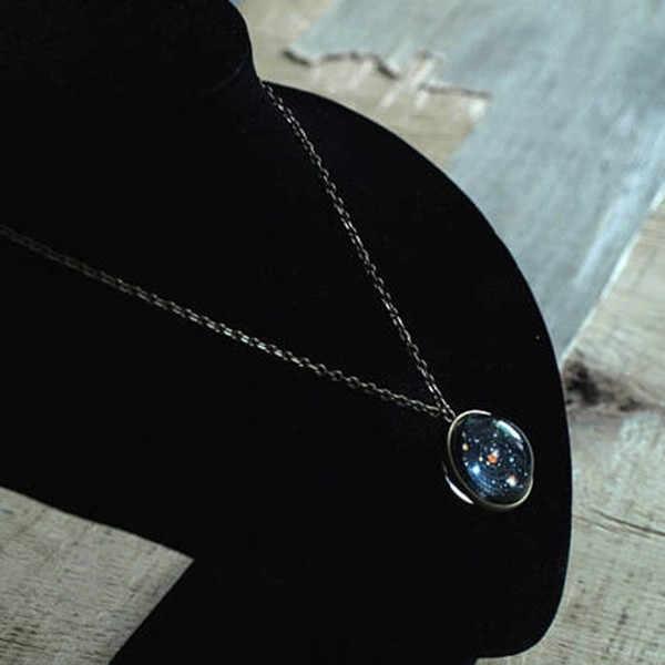 Encanto mujer creativa aleación nacional bandera hueco Luna tiempo gema colgante collar joyería regalo