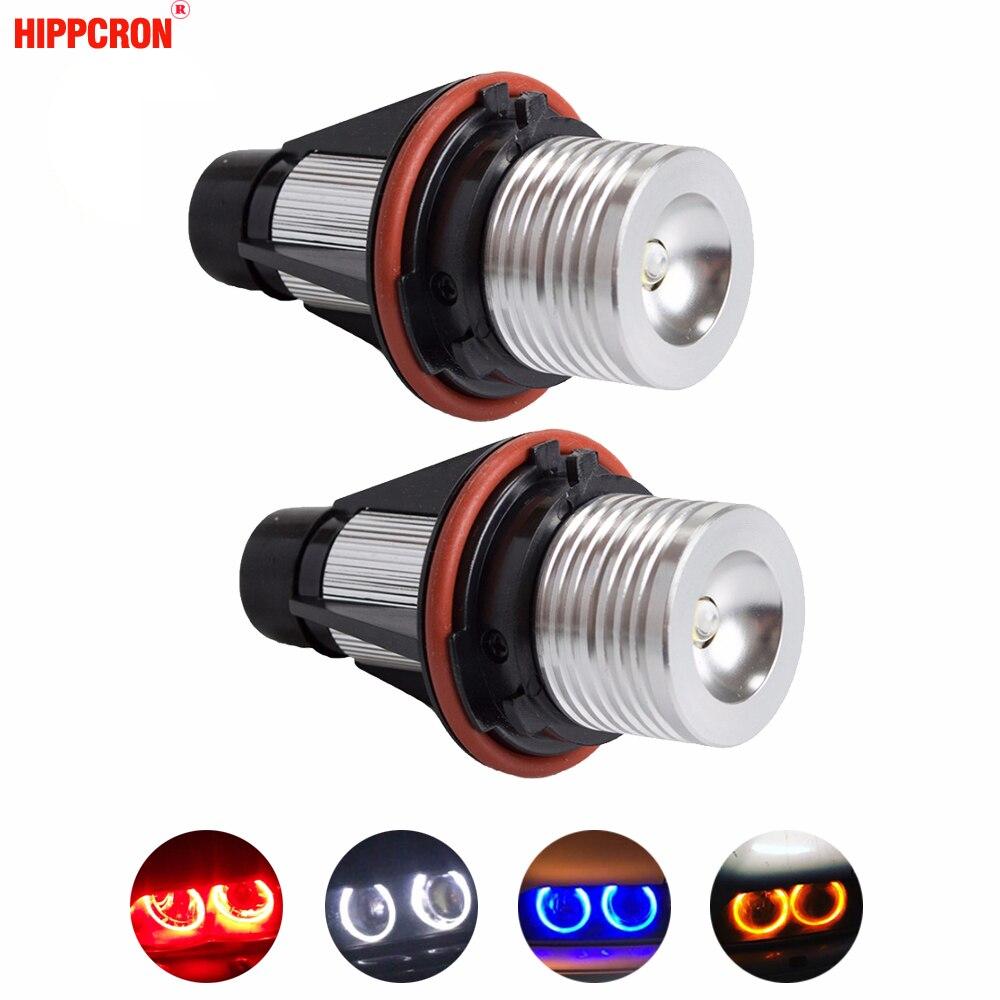 цена на hippcron 2*5W 10W for Bridgelux LED Chips LED Marker Angel Eyes White Blue Red Yellow Color for BMW E39 E53 E60 E61 E63 E64