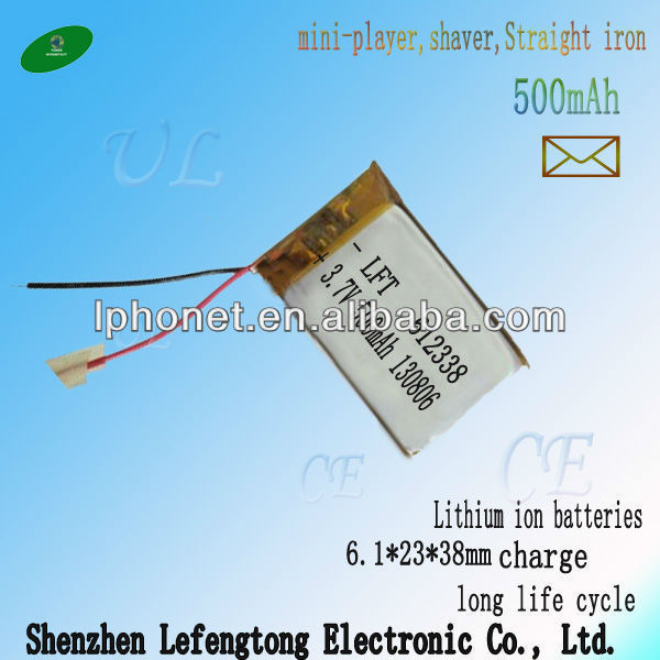 small capacity rechargeable 3.7v 550mah lipo battery <font><b>612338</b></font> for hair drier image