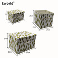 Eworld 1pcs High Quality Vogue Foldable Cotton Linen Waterproof Canvas Large Beam Laundry Basket Toys Clothes Storage Organizer