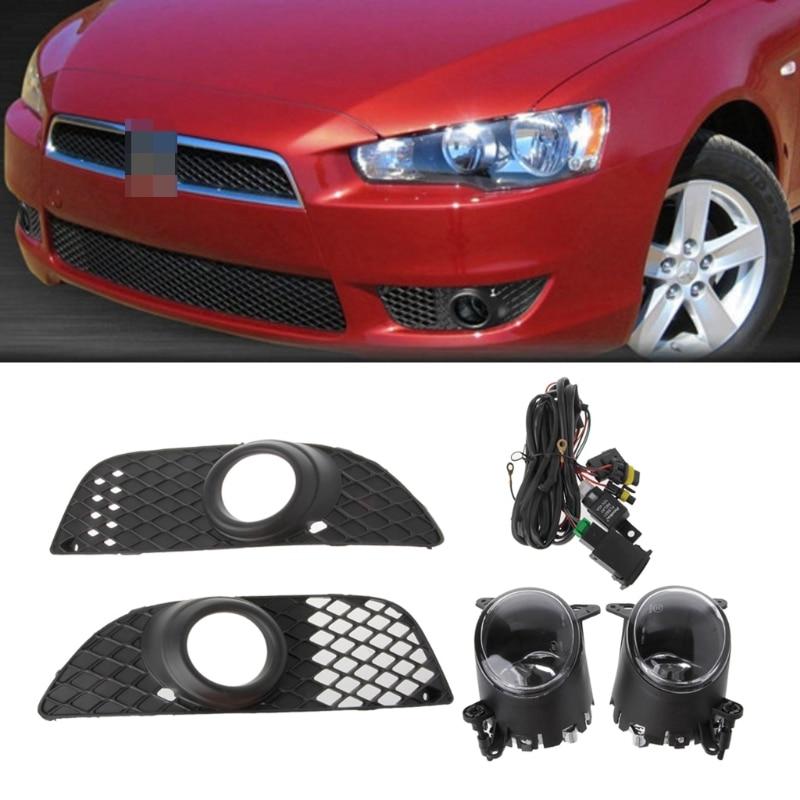 1 Set 55 W Pare-chocs Grille Brouillard Lumières Lampe + Câblage Commutateur Kit Pour Mitsubishi Lancer 08-14 Super lumineux Ambre Forte Lumière grille