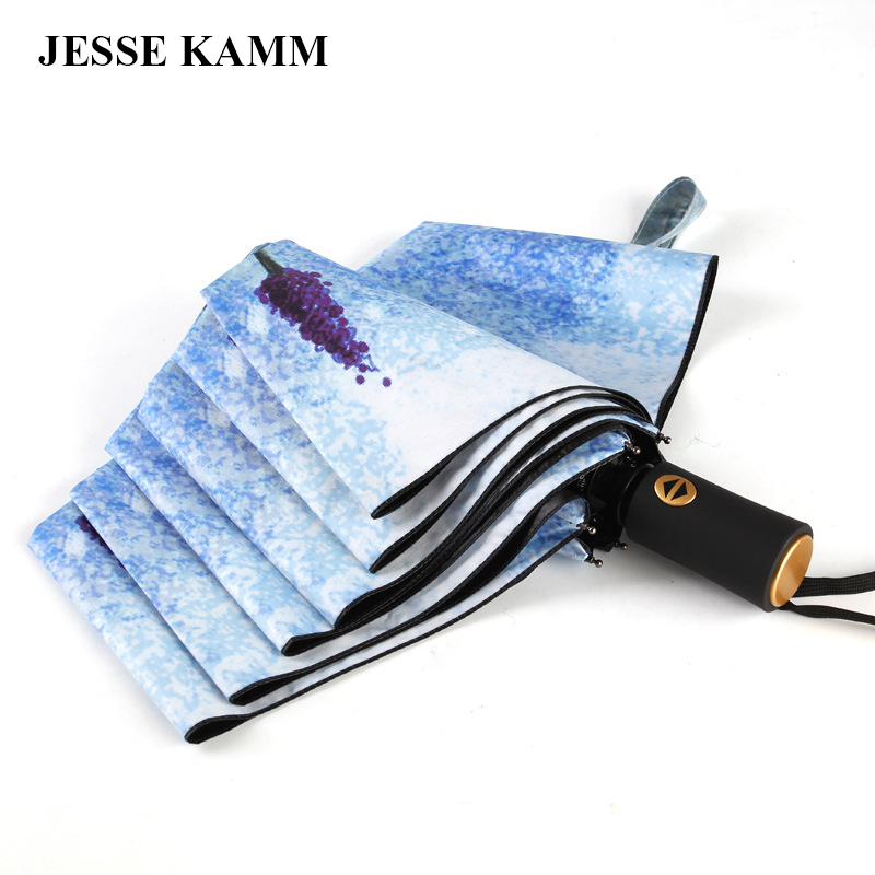 JESSE KAMM Violet Flower Sky Blue Fully-Automatic Black Coating Rubber Paint Handle Strong Print For Mother Wife Gift Umbrellas