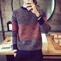 Мужчины Известный Бренд Осень Пуловер Solid Свитер Случайный Мужчина Тонкий Шерсть Вязаный О-Образным Вырезом Свитер
