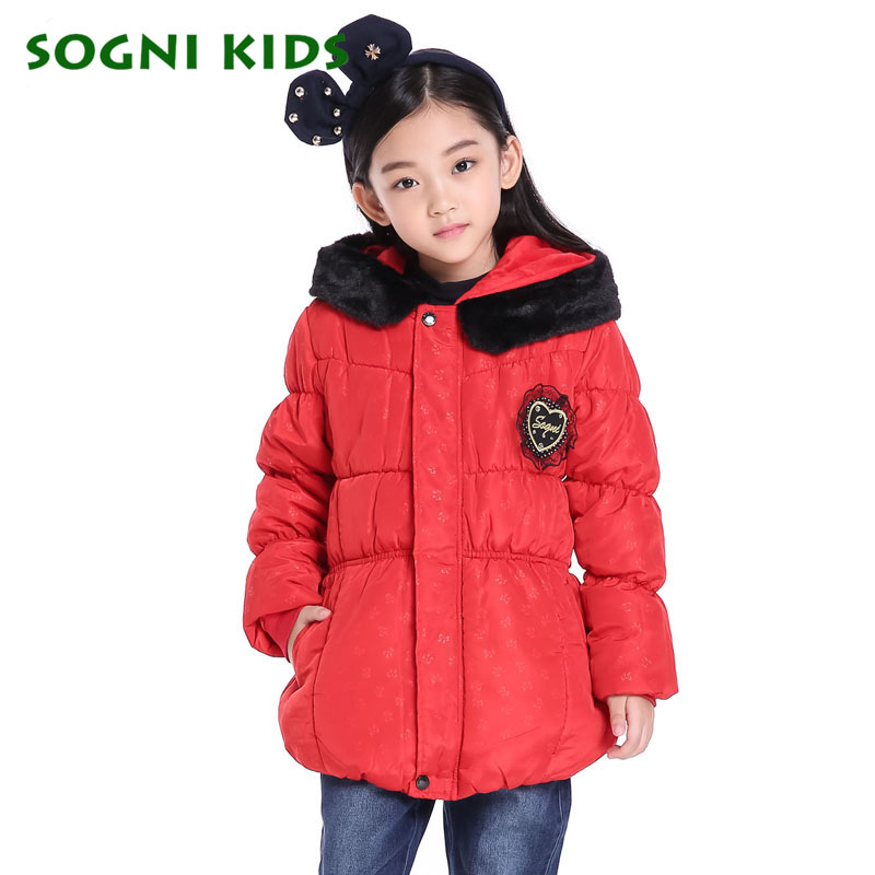 Girls Winter Coats Long Thick hooded down cotton padded jacket Children s Bow print Waistband kids