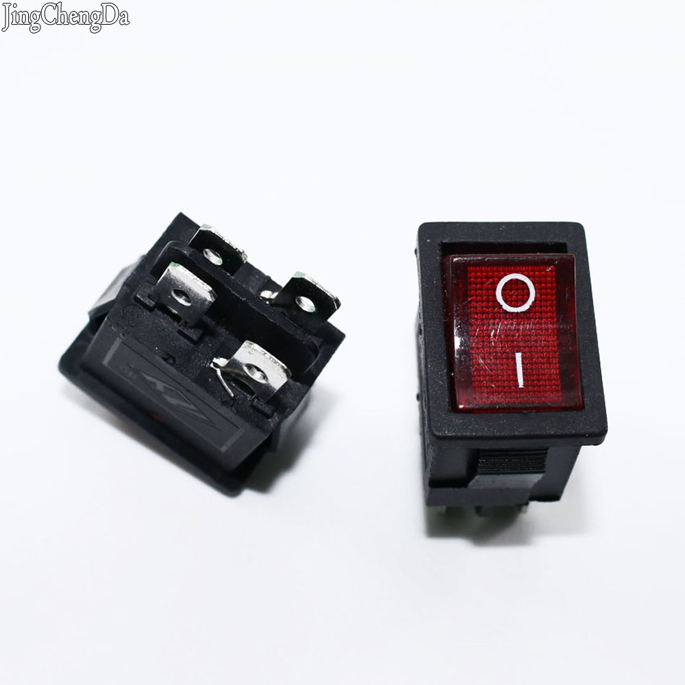 Jing Cheng Da 1pcs Red Illuminated Light Rocker Switch with 4 Pin ON/OFF 2 Position 16A/250V 20A/125V KCD4-201
