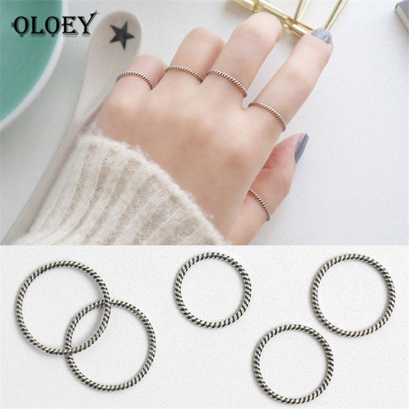 OLOEY 100% Real 925 Sterling Silver Finger Rings For Ladies Girls Simple Personality Twist Korean Trendy Joint Tail Ring YMR537