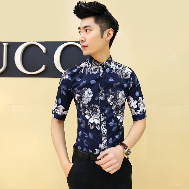 2015 New Slim Fit Floral Print Mens Flower Shirt Summer Dress Korean Men Fancy Shirt Night Club ...