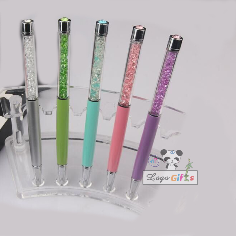 New promotional exquisite crystal pen, metal oily pearl pen special