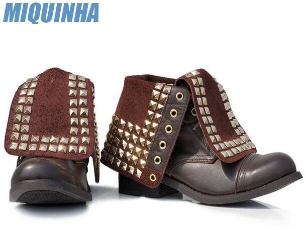 MIQUINHA 2017 Hottest Studs Cover Women Lace Up Ankle Boots Round Toe Ladies High Quality Motorcycle Boots Low Heel Boots 2015 hottest drop shipping vintage round toe strappy zip knee high boots studs chunky heel leather boots women high heels j459