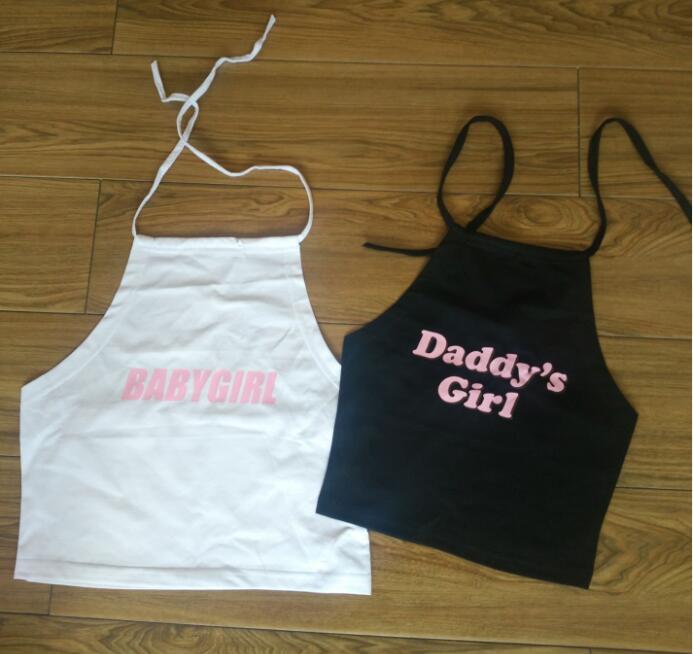 Daddy Baby Girl Halter Black White Crop Top Women Large