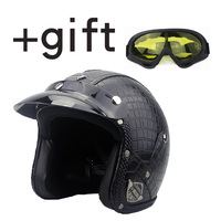 VOSS Motorcycle Helmet Motorcross Full Face Vintage Helmet For Scooter Leather Crash Helmet Windproof Open Face