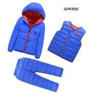 3Pcs/set Children's Winter warm cotton padded clothes sets boy/girls windproof cotton hooded coat+waistcoat+full length pants