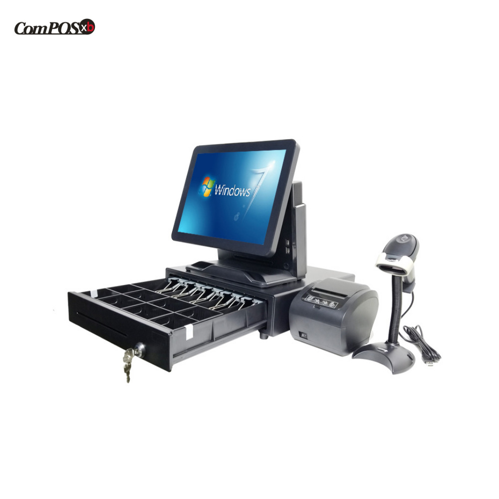 whole set cheap pos machine pos system with 80mm printer cash drawer barcode scanner for retail