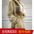 2016 New Winter Women's Real Natural Mink fur Long coat with a hood